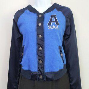 A&F Blue Satin Sleeve Sweatshirt Bomber Jacket M